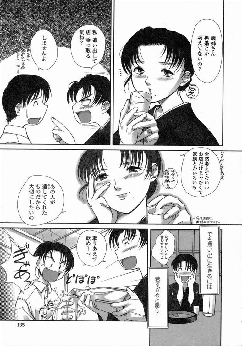 【エロ漫画】未亡人の義姉と飲んでいたらあまりの健気さに魔が差してしまい…